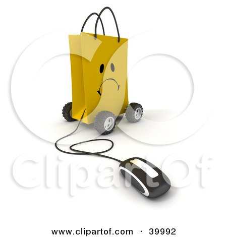 Clipart Illustration of a Computer Mouse Connected To A Sad Yellow Shopping Bag On Wheels by Frank Boston