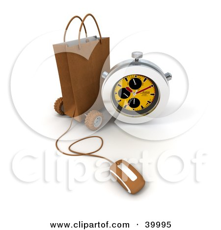 Clipart Illustration of a Stop Watch Resting Against A Brown Shopping Bag With A Computer Mouse Attached To It by Frank Boston