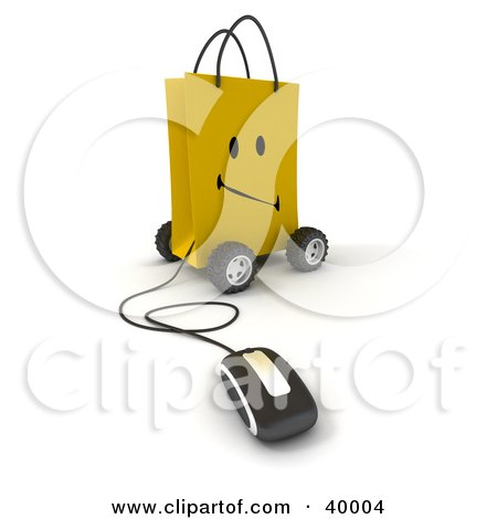 Clipart Illustration of a Computer Mouse Connected To A Frowning Yellow Shopping Bag On Wheels by Frank Boston
