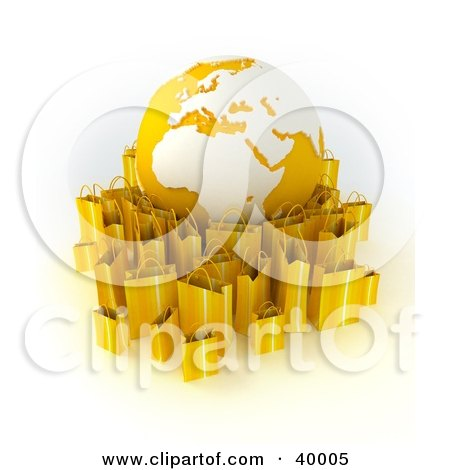 Clipart Illustration of an Orange And White Globe Surrounded By Orange 3d Shopping Bags by Frank Boston