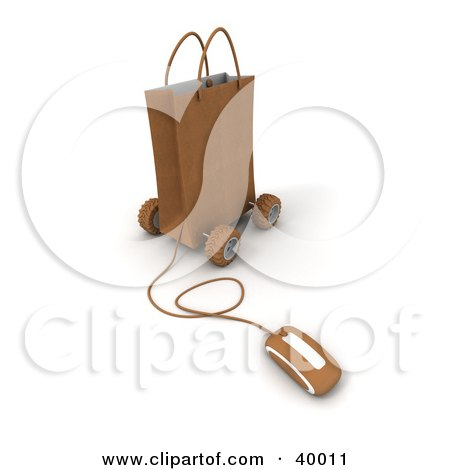 Clipart Illustration of a Computer Mouse Connected To A Brown Gift Bag On Wheels by Frank Boston