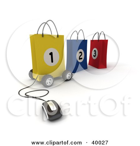 Clipart Illustration of a Computer Mouse Connected To A Yellow Number 1 Bag On Wheels, With Two Other Bags by Frank Boston
