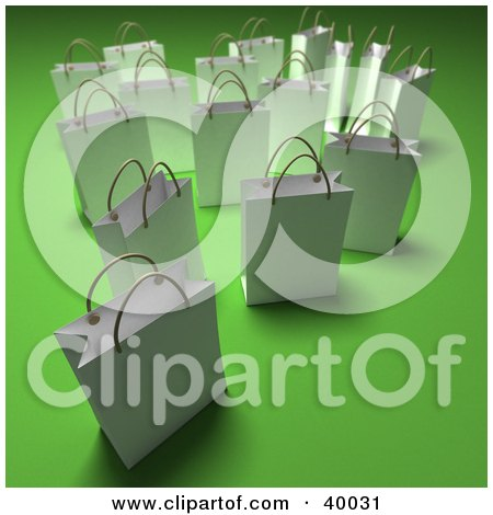 Clipart Illustration of Scattered White 3d Shopping Bags On A Green Background With Shading by Frank Boston
