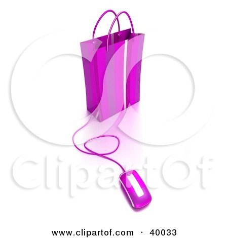 Clipart Illustration of a Computer Mouse Connected To A Purple Shopping Bag by Frank Boston