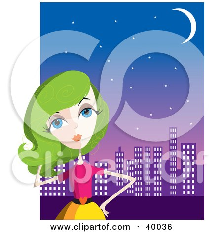 Clipart Illustration of a Fashionable Lady With Green Hair, Standing In Front Of A City Skyline by Maria Bell