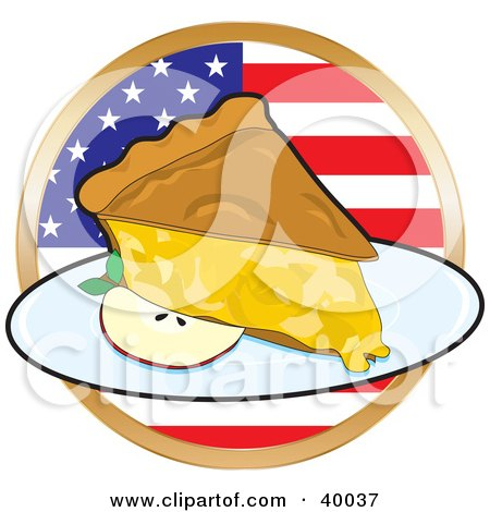 Royalty-free cuisine clipart picture of a slice of apple pie in front of a