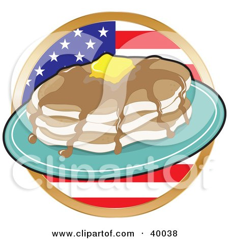 Clipart Illustration of a Stack Of Flapjacks With Maple Syrup And Butter, In Front Of A Circular American Flag by Maria Bell