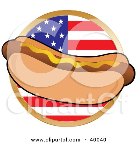 Clipart Illustration of a Hot Dot In A Bun, Garnished With Mustard, In Front Of A Circular American Flag by Maria Bell