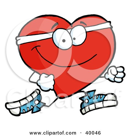 Clipart Illustration of a Healthy Red Heart Running Past by Hit Toon