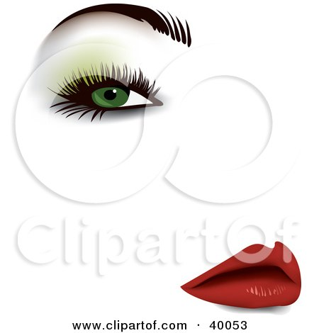 Clipart Illustration of a Sexy Woman's Face With Green Eyeshadow, Thick Eyelashes, Groomed Brows And Red Lips by Eugene