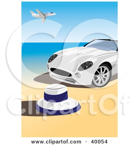 Clipart Illustration of a White Convertible Sports Car On A Beach, An Airplane Flying Above by Eugene