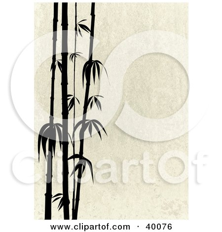 Clipart Illustration of Stalks Of Black Silhouetted Bamboo On A Beige Stone Background by suzib_100