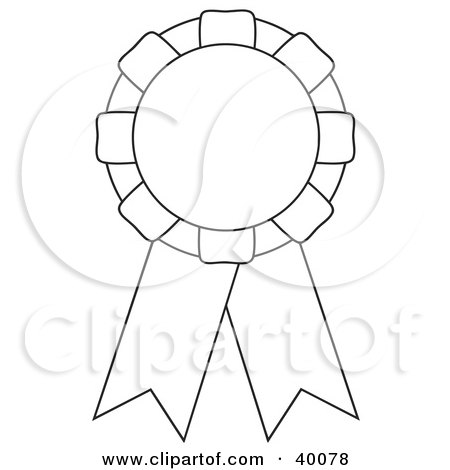 Clipart Illustration of a Black And White Cut And Color Award Ribbon by C Charley-Franzwa