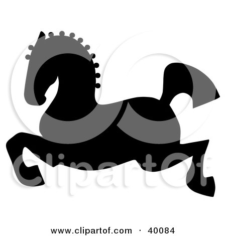 Clipart Illustration of a Leaping Black Silhouetted Oriental Horse by C Charley-Franzwa