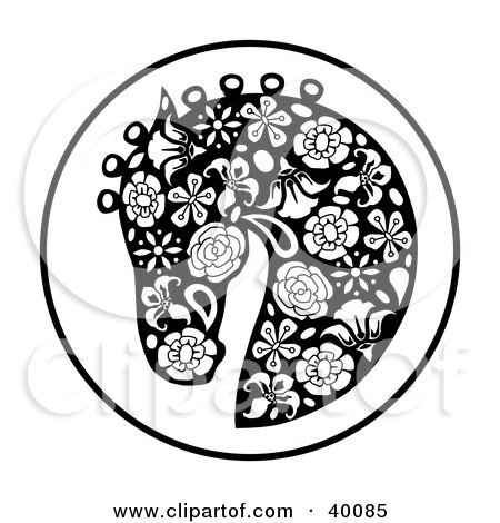 Clipart Illustration of an Oriental Horse Head Profile In Floral Pattern by C Charley-Franzwa