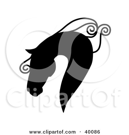 Clipart Illustration of a Majestic Black Silhouetted Horse Head In Profile, With A Curly Mane by C Charley-Franzwa