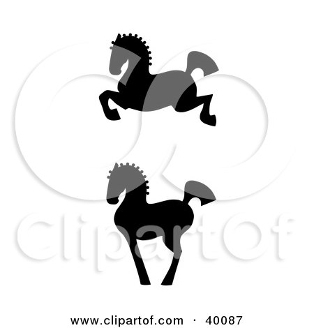 Clipart Illustration of Leaping And Proud Black Silhouetted Oriental Horses In Profile by C Charley-Franzwa