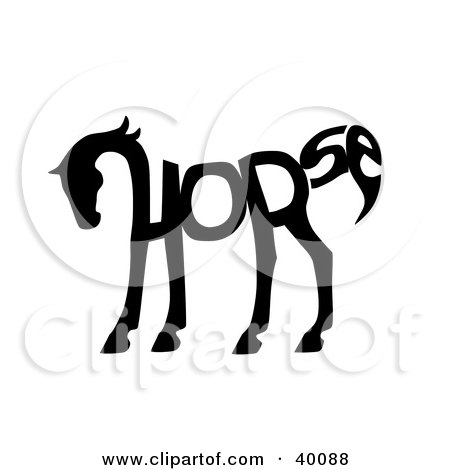 Clipart Illustration of The Word Horse Spelled Out And Forming The Shape Of A Horse's Body by C Charley-Franzwa