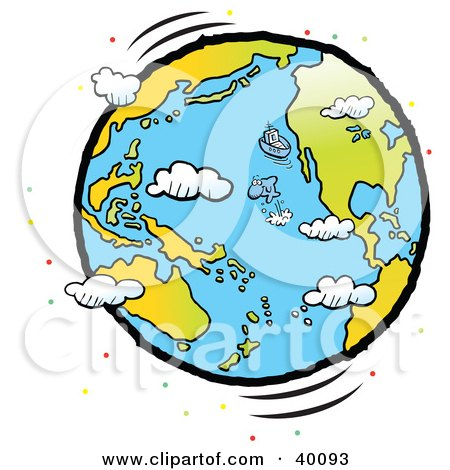 Clipart Illustration of a Fish Leaping Out Of The Ocean Near A Boat On A Large Globe, With Clouds And Colorful Dots by Johnny Sajem