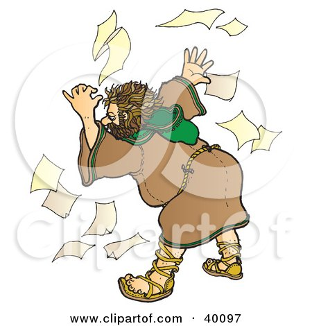 Clipart Illustration of a Stressed Out And Unorganized Christian Monk In A Habit, Searching Through Papers by Snowy