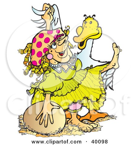 Clipart Illustration of a Mother Goose Dame In A Yellow Dress, Dancing With A Goose by Snowy