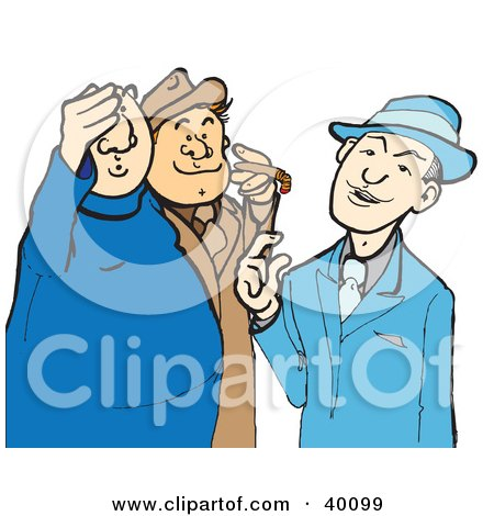 Clipart Illustration of a Mobster Boss Talking With His Gangsters by Snowy