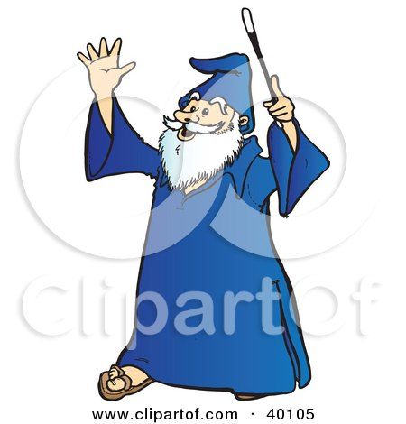 Clipart Illustration of a Smiling Old Wizard With White Facial Hair, Holding Up His Wand by Snowy