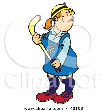 Clipart Illustration of a Girl In A Private School Uniform, Playing Field Hockey by Snowy