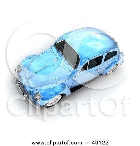 Clipart Illustration of a Metallic Light Blue Slug Bug Car by Frank Boston