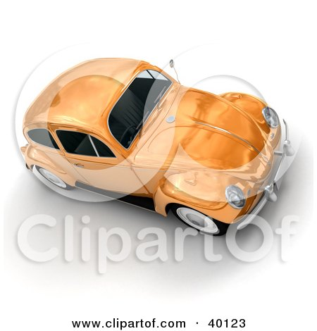 Clipart Illustration of a Metallic Orange Slug Bug Car by Frank Boston