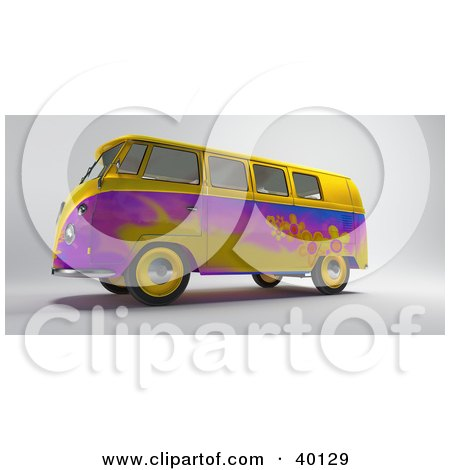 Yellow And Purple Hippy Van With Flower Designs Posters, Art Prints