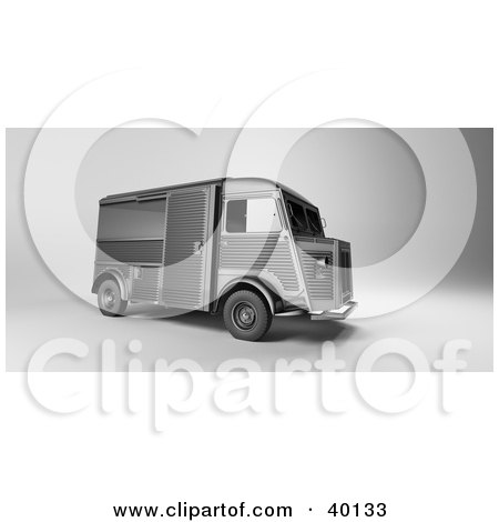 Clipart Illustration of a Vintage Gray Delivery Van by Frank Boston