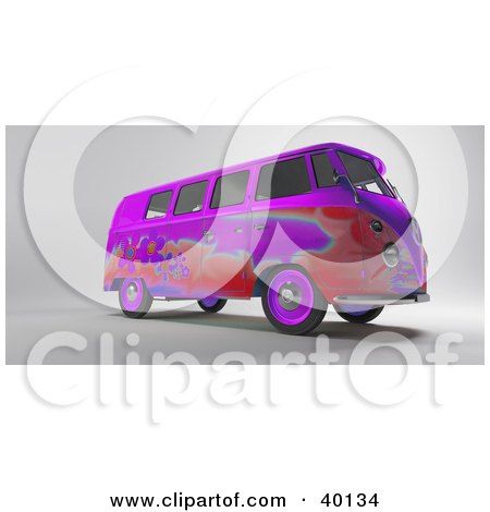 Clipart Illustration of a Red And Purple Hippy Van With Flower Designs by Frank Boston