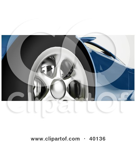 Clipart Illustration of a Closeup Of The Brakes And Rims On A Blue Sports Car by Frank Boston