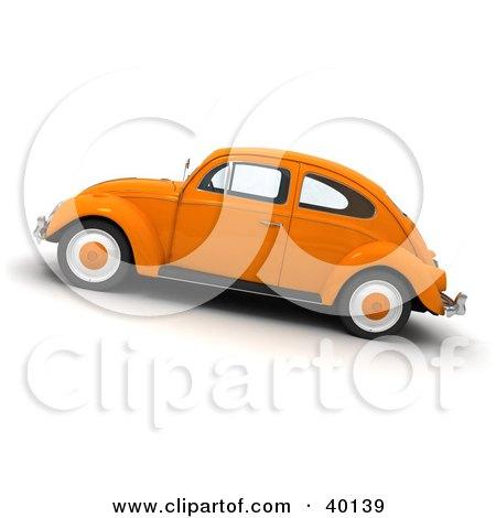 Clipart Illustration of an Orange Slug Bug Vehicle by Frank Boston
