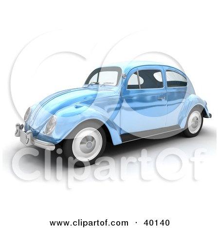 Clipart Illustration of a Shiny Light Blue Metallic Slug Bug Car by Frank Boston