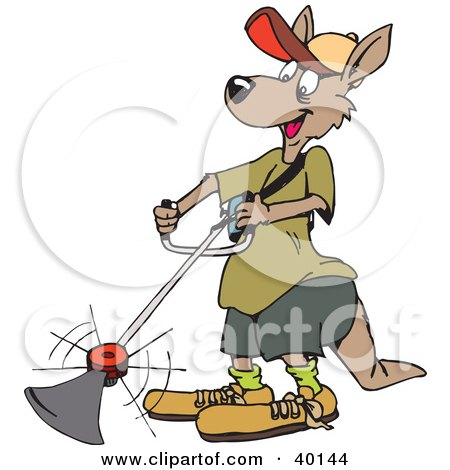 Clipart Illustration of a Kangaroo Landscaper Operating A Weed Wacker by Dennis Holmes Designs