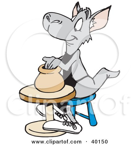 Clipart Illustration of a Kangaroo Potter Shaping A Vase Out Of Clay On A Pottery Wheel by Dennis Holmes Designs