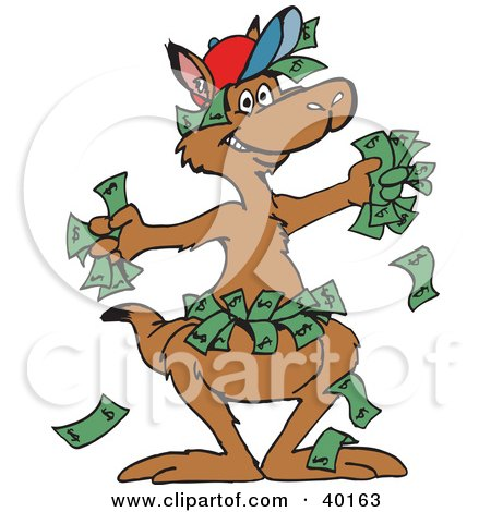Clipart Illustration of a Wealthy Kangaroo With Cash In His Hands And Pouch by Dennis Holmes Designs