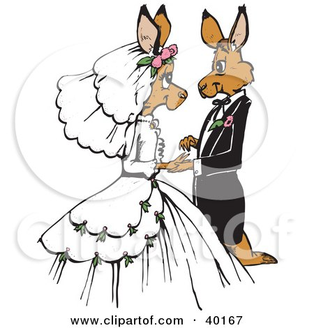Clipart Illustration of a Loving Kangaroo Bride And Groom Getting Married by Dennis Holmes Designs