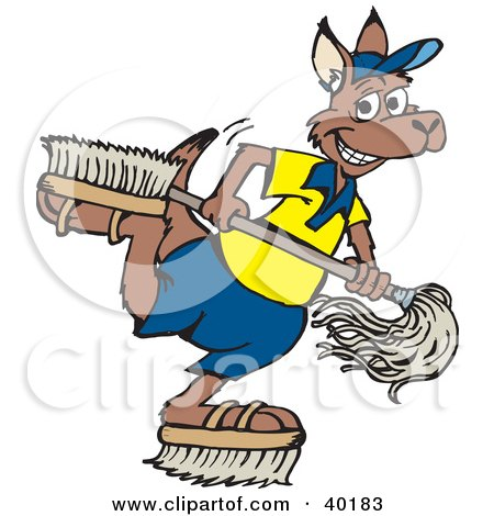 Clipart illustration of a kangaroo janitor playing with brush shoes