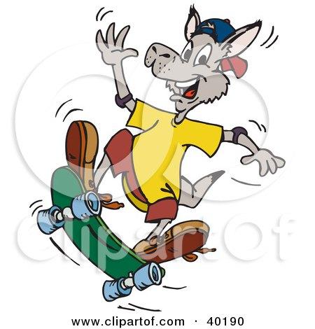 Clipart Illustration of a Waving Kangaroo Skateboarding by Dennis Holmes Designs