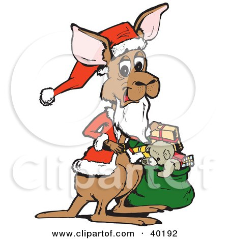 Clipart Illustration of a Christmas Santa Kangaroo Holding A Sack Of Toys And Presents by Dennis Holmes Designs