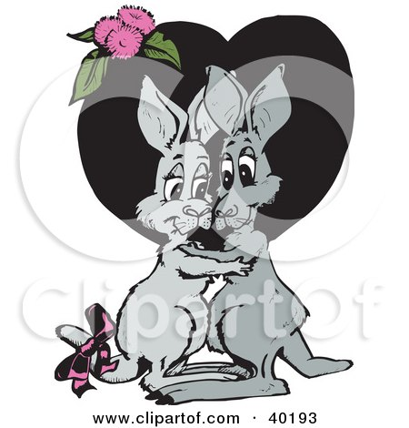 Clipart Illustration of a Loving Kangaroo Couple Embracing In Front Of A Black Heart With Pink Flowers by Dennis Holmes Designs