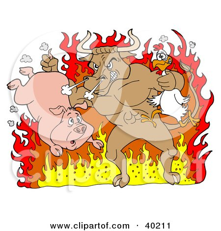 Clipart Illustration of a Tough Bull Holding A Chicken And Pig And Standing In Hot Flames by LaffToon