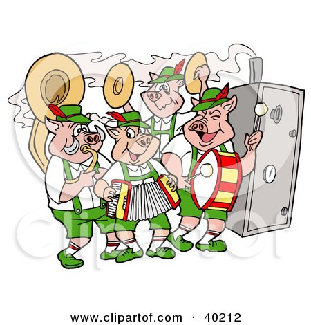 Clipart Illustration of a Pig Oktoberfest Band Playing Instruments And Standing By A Smoker by LaffToon