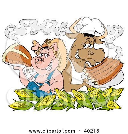 Clipart Illustration of a Chef Pig And Cow Standing Back To Back Behind Corn, Holding Up Steak And Bbq Ribs