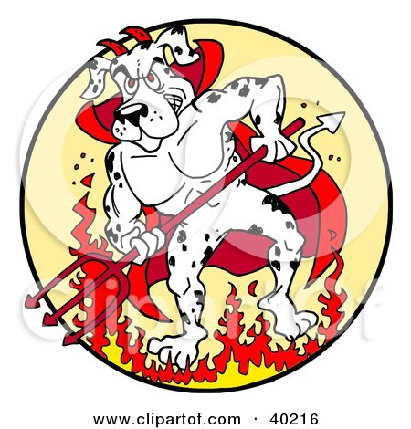 Clipart Illustration of a Strong Fire House Dalmatian Dog Devil Standing In Fire And Holding A Pitchfork by LaffToon