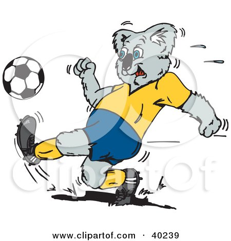 Royalty-free animal clipart picture of a koala kicking a soccer ball during