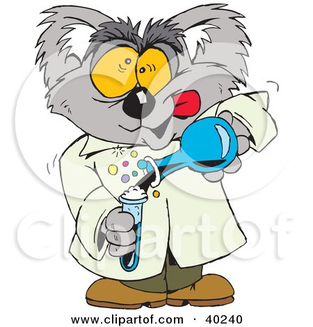 Clipart Illustration of a Mad Koala Scientist Mixing A Concoction by Dennis Holmes Designs